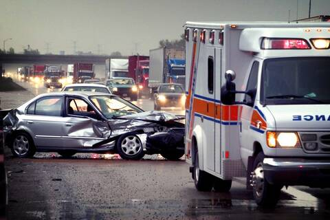 Car Wreck with Ambulance.
